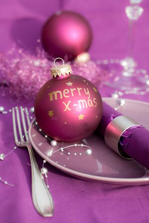 balls decorated: christmas place setting Stock Photo