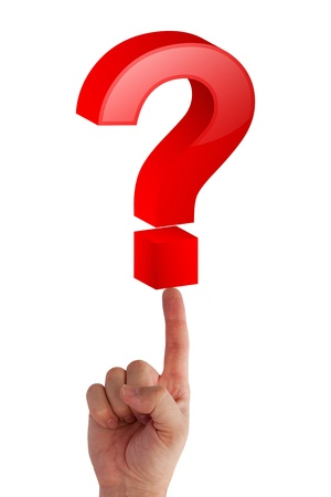Question mark on finger Stock Photo - 11274600