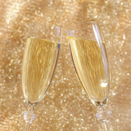 new year eve beads: Champagne toast  Stock Photo
