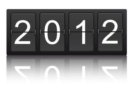 editable 2012 new year on mechanical scoreboard  Vector