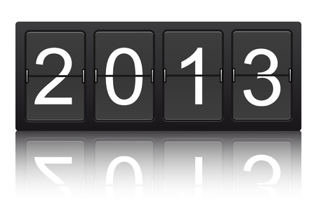 editable 2013 new year on mechanical scoreboard  Vector