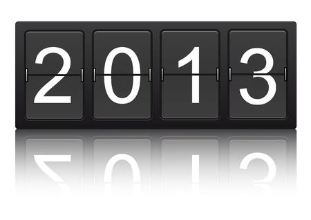 editable 2013 new year on mechanical scoreboard  Vector