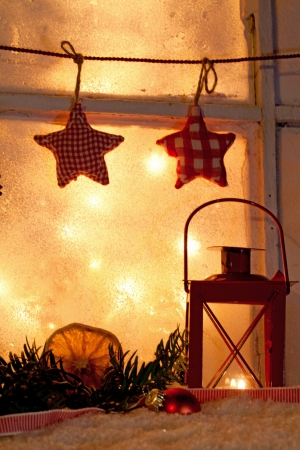 old window: Christmas decoration