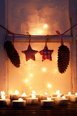 Old window with christmas decoration  photo