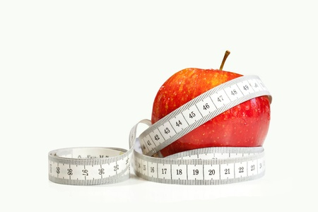 Red apples measured the meter Stock Photo