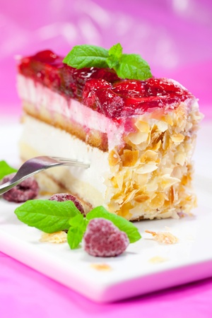Raspberry cake on a plate photo