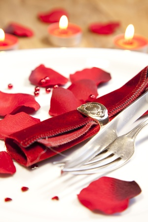 place setting for valentines day photo