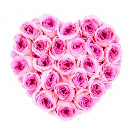 pink rose petals: Pink roses Heart shape Stock Photo