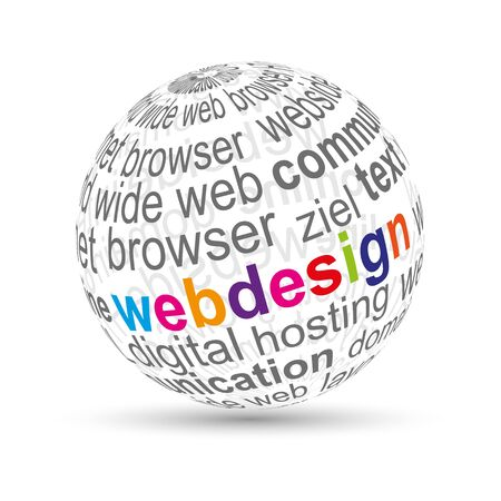 website words: 3D ball  webdesign  Illustration