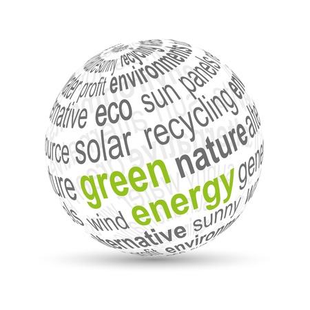 sonnenenergie: 3D Ball gr�ne Energie Illustration