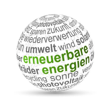 Biomass: Word Ball - renewable energy - German Erneuerbare Energien