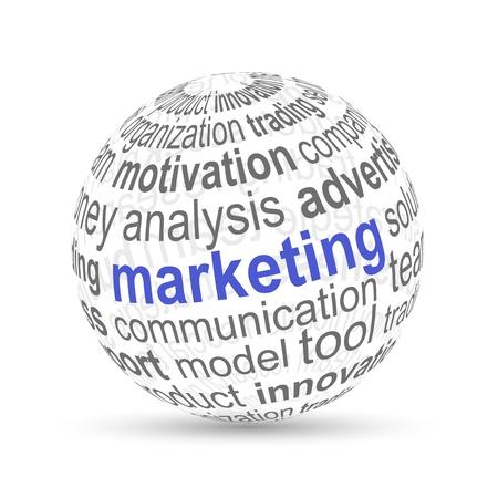 3D bal marketing Stock Illustratie