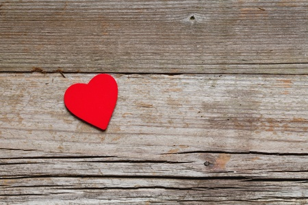 One red heart on wood with copy-space Stock Photo - 12835801