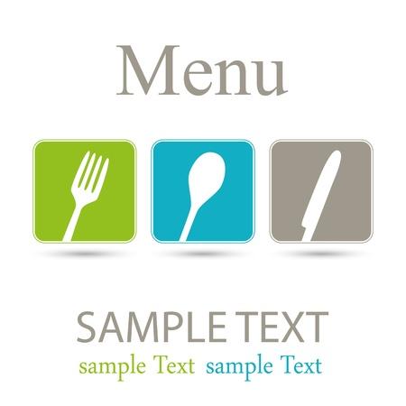 fork glasses: Tre icone del menu Vettoriali