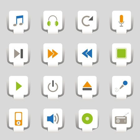 entertainment icon: 16 Web icons music  Illustration