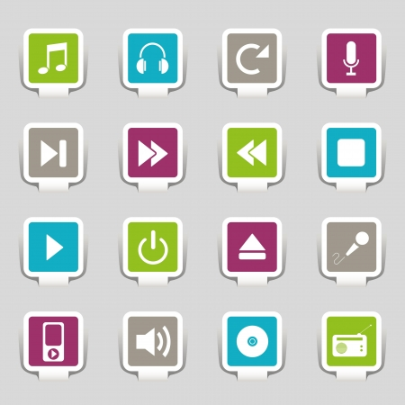 16  icons music Stock Vector - 12927592