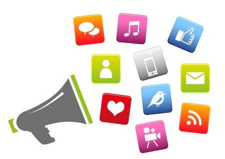 hombre megafono: Meg�fono con iconos de redes sociales