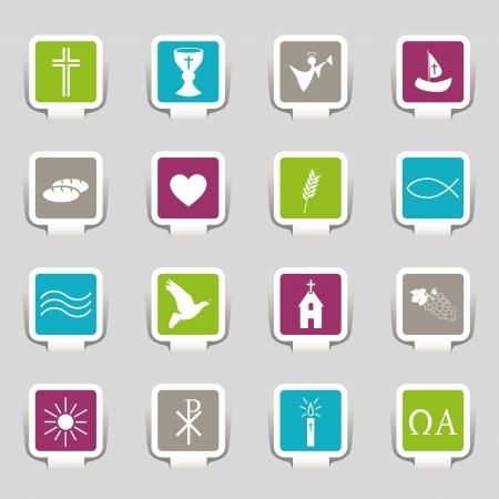 comunion: 16 Iconos de la religión Vectores