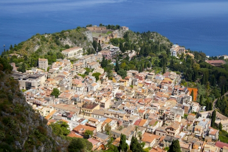 taormina: The town of Taormina, in sicily seen from the top  Stock Photo
