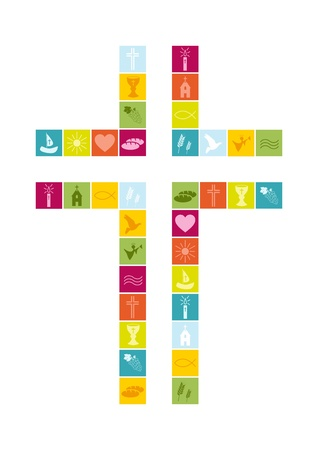 santa cena: Símbolos de religión cristiana de colores Vectores