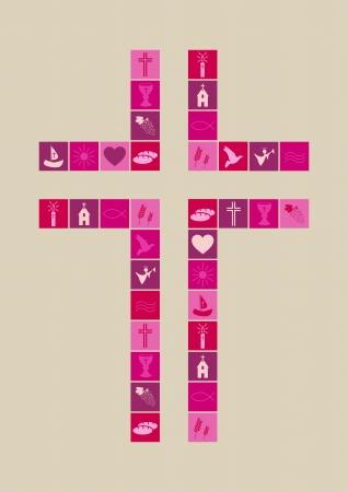 santa cena: Símbolos de la religión cristiana niña Vectores