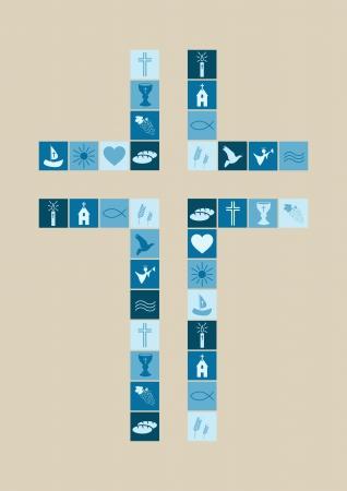 comunion: Símbolos de la religión cristiana niño Vectores