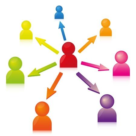 relaciones humanas: Iconos de medios sociales Vectores