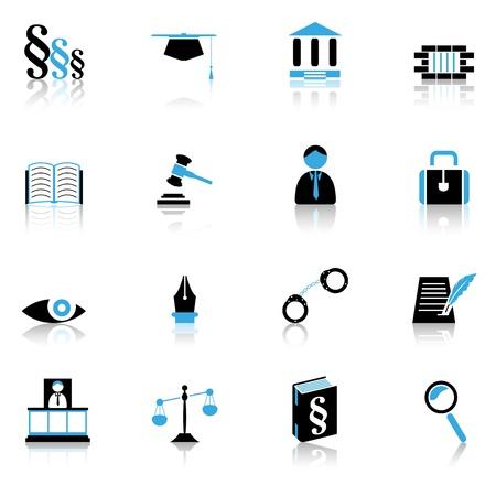 ley: Iconos de la justicia Vectores