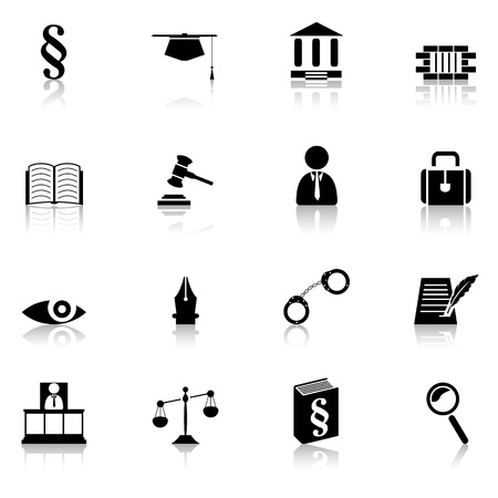 legal document: justice symbols, law concept, set