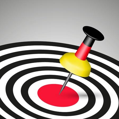 direct marketing: German Pin Hitting A Target  Illustration