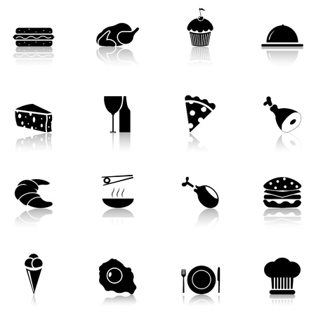 cheese cake: Food icon set black, Part 1  Illustration