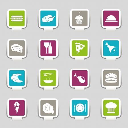 wijn en spijzen: Stickers - Food Icons - Deel 1