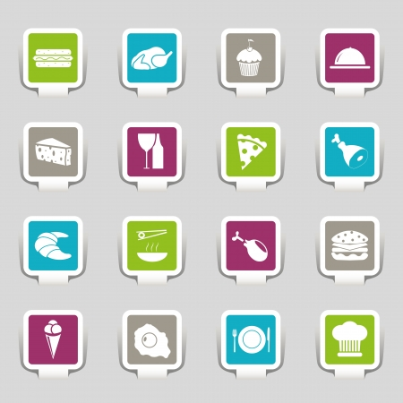 Stickers - Food Icons - Part 1  Vector