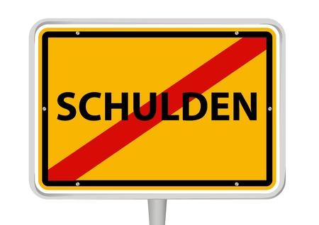 owe: German placename sign with word  Schulden