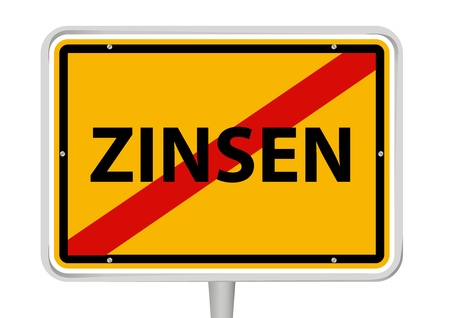 interst: German placename sign with word  Zinsen