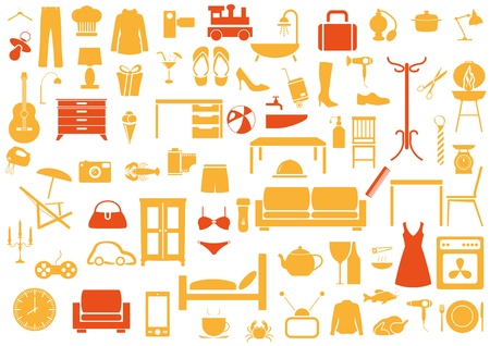 Conjunto de muebles, moda, k Itchen, los iconos de baño Ilustración de vector