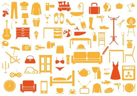Ensemble de mobilier, la mode, k uisine, icônes de bain Vecteurs