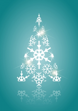 Abstract Christmas tree made of light and snow flakes Vector
