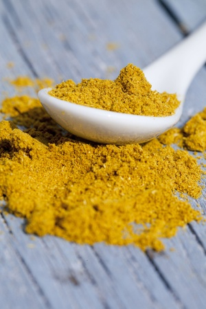 curry powder: Close-up of curry spice Stock Photo