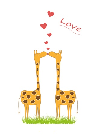giraffe love Vector