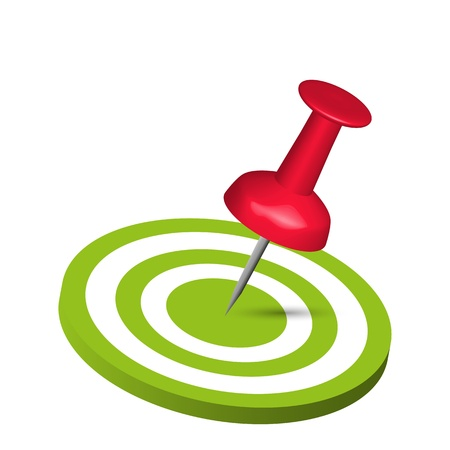 business competition: Pin Hitting A Target Illustration