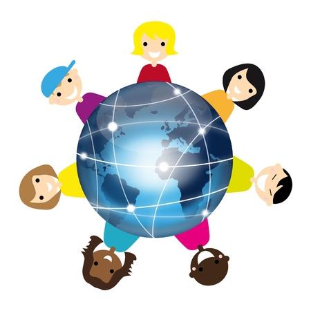 planeta tierra feliz: Los niños con tierra Vectores