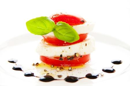 caprese salad: Tomato and mozzarella  Stock Photo