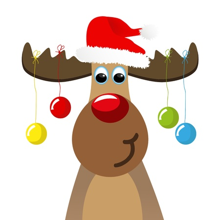 humorous: Funny moose with christmas balls