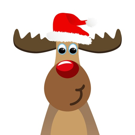santa moose: Funny moose Illustration