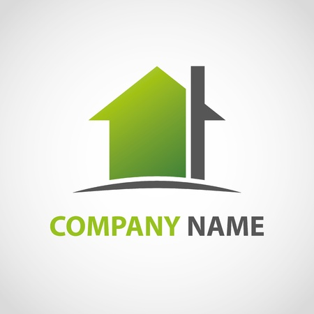 housing estate: Green home icon Illustration