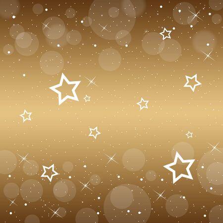 Decorative gold background with stars Illustration