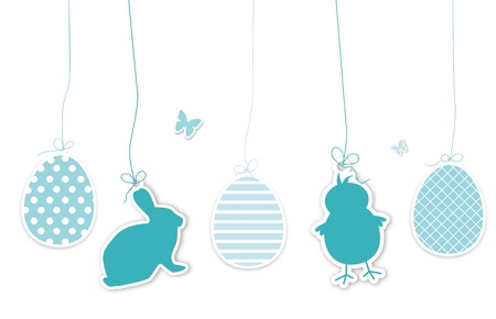 middle easter: Set of blue easter hangtags