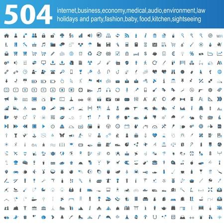 504 blue grey Icons Illustration