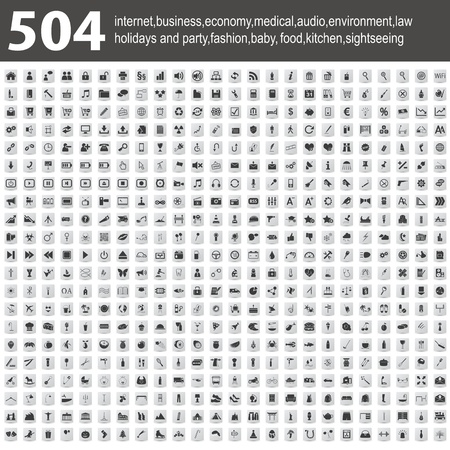 504 Icons with shadow Stock Vector - 18196102